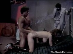Sexually excited hotty in collar and leash fucked hard