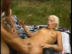 Betty using marital-device in the woods 2