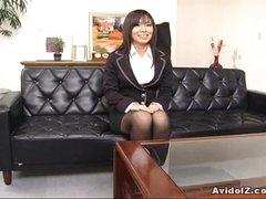 Hot secretary Satomi Maeno sucks an ugly dick!