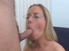 Blond in glasses sucks cock and receives fur pie pounded
