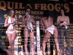 Sexually excited college babes stripping and seducing dudes in hawt club
