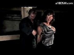 Breasty Hotty With Mouthgag Stripping Getting Fastened Up Twat Stimulated With Vibrator In The Dungeon
