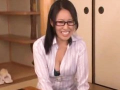 Office Lady With Glasses Giving Oral stimulation For Dudes On The Floor In The Room