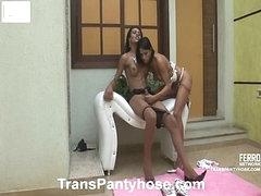 Luana&Claudio tgirl hose act