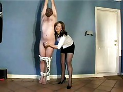 Milf suspends and ties her husband torturing his dick - sexual homemade porn video stolen by neighbors!