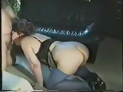A fat lady gets all dressed up in her horny lingerie and goes down on all fours. Expecting to be drilled from the back, she's surprised to see the rod in her face. Luckily, that babe adapts quickly and sucks on it.