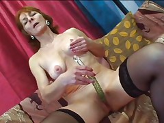 Granny Ivet knows the importance of veggies. That hottie takes her daily dose right now by rubbing that cucumber marital-device on her hairless wet crack while engulfing this guy's hard cock. That hottie knows how to engulf cock and now that she's laid on her back granny will show what she knows to do best! Stick around and find out what!
