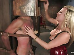 Domina Harmony doesn't allows men to do what they want, so, with the help of her chains and all sorts of simple but efficient tools this babe punishes this muscled guy, first by adding clothespins on his face and then by thrashing him while he's in chains. She does her job perfectly and soon this fellow will be resigned sufficiently