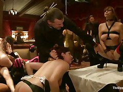 They want to have fun and they decided to humiliate the fastened women. But it's solely beginning of this kinky orgy. They are sharing the pussies of these women among themselves. One woman sits on the face of captive to give satisfaction.