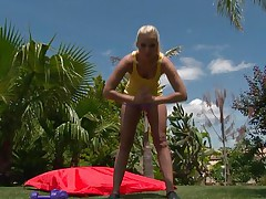 Watch this blonde playgirl as she works out her hot body. After a few exercises she takes off her clothes and discloses that hot body, this playgirl has long hot legs, a cute ass, small hot boobs and long gorgeous legs. This babe is showing us what she has and makes our dicks hard.