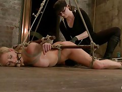 Hot love tunnel Cherie has a sex-toy on her hairless snatch and her ass tortured with fingers by her horny mistress. This babe is all tied up with strings and lies on the floor to get what that babe deserves. Then, that babe lies on a bed and sucks a big dildo. This babe spits everywhere and sucks it unfathomable with no stopping!