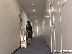 Japanese cunt wants to piss, but doesn`t know where. That babe asks a worker, but this guy doesn`t aid her and she pisses outside the building. This chab follows her and watches her. Then, this guy becomes so slutty and starts to play with her soaked pussy, recording it at the same time. They go to hide from others when she sucks his cock.