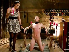Micah Andrews is fastened up so that guy can't move during the time that bitch goddess Chanel Preston oozes sexy candle wax all over his body. This babe oozes the wax on his chest, tongue, and strapon and balls. After choking him until that guy gasps for air, that babe whips his petite strapon red.