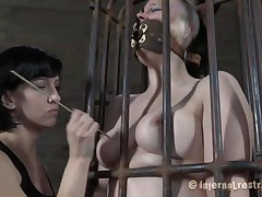Yes bitch, u deserve this punishment. U thought that everything needs to be your way and always had lack of respect. Let's see u in that cage how punk u are now. It's a bit humiliating for such a bad ass angel like u to be caged, fastened and pussy rubbed isn't it? Stay there and shut the fuck up.