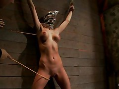 Watch this slut as that playgirl is fastened on the wall and has a bag on her head. She is suffocating slowly and to increase the enjoyment of being dominated they punish her sexy body by spanking her on the thighs and stomach with a stick. After spanking that playgirl acquires a vibrator on her cunt and moans with enjoyment and pain. She's so sexy with those clamps on her hard nipps and, will they add greater amount weights?