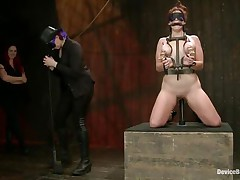 And so is a perverted session of bdsm! This doxy stays in her knees all tied up and with her love melons squeezed while her mistress, just like she is, has a blindfold around her eyes. The female-dominator spanks the slut with an electric wand and the rest is for you to watch and have a enjoyment it!