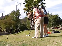 Why train her how to play golf when this chick can play with smth that she's already used with. The hawt brunette milf leaves the golf cross and takes this guy's hard pecker instead. This chick gives him a not many sucks and then goes on top to ride the dude like a fucking whore! See how deep this chick takes it while rubbing her clitoris?