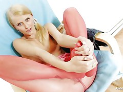 Wicked Czech honey Kasia takes off her red hose after taunting us with her long hot legs and inserts 'em in her shaved tight pussy. She can't live without the feeling of having nylon in her cookie and puts her pants on whilst those hose are still in her vagina. This blond honey is going to take a walk with nylon in her vagina?