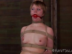 What do we have here? It's the blonde doxy Pi, all bound up and still wearing her panties. Some whipping warms her up and then the executor puts clamps on her fragile nipples in advance of cutting a hole in her pants to show us her cunt. Her pussy looks damn fine but it's time to take those pants off and get to business