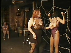 Here's a oldie but goldie bdsm. Headmistress Bianca taunts her female sex slave not only with her large delicious boobs but with her skills too. That babe ties Carla's large breasts with rope and squeezed them hard after she played with them. Carla will have to obey the will of her mistress because she's fastened hard