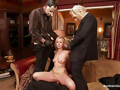 Hawt golden-haired slut Zoey receives fucked hard by five lewd chaps with face masks. This babe is recorded, during the time that her taut holes are getting filled with big hard dicks by turns. This babe moans with pleasure and craves more and more. This babe opens her face aperture to suck it deep. Who will cum first, she or they?