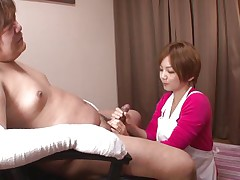 'coz this guy has his hands injured and can't masturbate the sweet nurse Meguru helps him with that problem. She takes off her clothes, remains only in that sexy white bra and panties and then starts to take up with the tongue his dick gently. Meguru wants to satisfy him and acquires a of of semen in return!