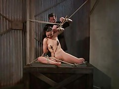 That guy tied her in a very uncomfortable position and used clamps on her nipples. She is ball gagged so that the screaming and groaning won't disturb the executor as he roughly rubs her cunt with a vibrator. The wench stays there and has nothing to do then accept her situation. Curios what else awaits this bitch?