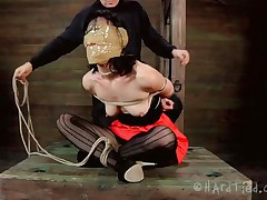 Blindfolded with duct tape and tied up, this brunette milf Elise is receives a rough mouth fuck from her executor. The guy is not joking around and this chab inserts his schlong unfathomable in her throat, showing this floozy what her sensual pink lips are good for. Perhaps some warm jizz on her face will elementary her torment