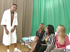 3 excited milfs are on the sofa awaiting for the guy to enter. He comes in, undresses and allows the bitches to shave his cock. The milfs are carefully shaving his genital area and acquire really excited about it. Maybe after he will be shaved they will give him a scarcely any lustful licks on his jock