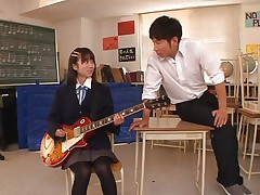 Pretty schoolgirl Asuka is in the classroom, learning to play the guitar. This bitch is more interested in her professor and he sees in her a lot of potential but not as a guitar player. That babe has a lot more talent when it's about a hard 10-Pounder and gives him one hell of a hand job before bending over in front of him