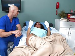 Gia DiMarco is sick. Her nurse Johnny Sins takes care of her by giving her a soapy bath. That guy lathers up her round bra buddies with soap making 'em nice and clean. This is tit sucking at it's finest. That guy ends up in the tub, too.