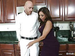 Johnny Sins and Francesca Le was having quite a fun in the kitchen. Johnny got a boner by looking at Le's cleavages and Le was helping Johnny to cool off by giving him a blowjob. When Ariella Ferrera came in the kitchen this babe likewise wanted to join the suck party and lucky Johnny gets a hell of a duet blowjobs while tese hot and sexy milf are taking out their boobs!