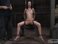 This babe wanted to to be humiliated and punished just like a slut that that babe is. Well Hailey got what that babe wanted and now she's tied up on that chair and disgraced. The executor wrote slut on her forehead and opened her mouth with a device. Wonder why? Then stick around and find out!
