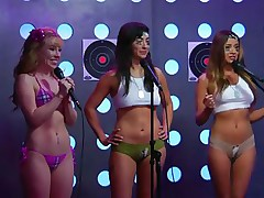 The Playboy Morning Show is radio but with cameras so you can watch as well as listen. Today, the Playmate guest is instructing a golden-haired playgirl and 2 hawt brunettes on topless pushups. They more excellent pursue orders or this big-breasted dark lesbo is going to spank their asses! Luckily they do well.