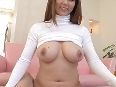 Horny Oriental with large merry boobs thrills with juicy oral pleasure job