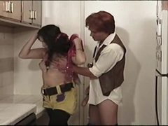 This guy nails ladyboy hippie in kitchen