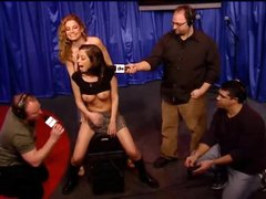 Schoolgirl hottie rides Sybian on Howard Stern show