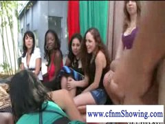 Cfnm gals jerking off guy in a swing while he eats muff