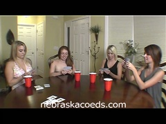 Hot college sweethearts play strip poker