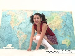 Hawt wicked latina masturbating during the time that taking geography test